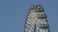 4K Closeup London Eye giant Ferris wheel observation capsule tourism attraction  - stock footage