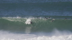 Pierre-Louis Costes bodyboarding, huge waves - stock footage