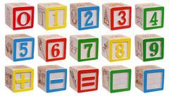 Collection of wooden blocks - numbers Kuvituskuvat