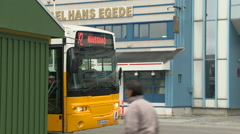 Yellow bus in Greenland Stock Footage
