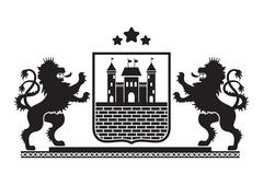Coat of arms - shield with fortress, brick wall and two standing lions at sid Stock Illustration