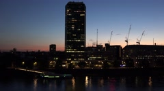 4K Modern building central London Thames river traffic car British skyline icon  Stock Footage