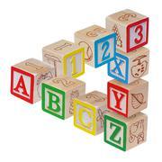 ABC alphabet blocks optical illusion, isolated on white - stock photo