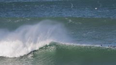 Bodyboarder rides wave, 360 spin Stock Footage