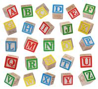 Wooden alphabet blocks isolated on white background - stock photo