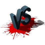 Isometric Versus letters or vs logo isolated on red splash. Vector illustration Stock Illustration