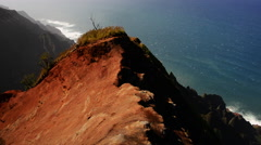 Waimea Canyon seascape aerial Stock Footage