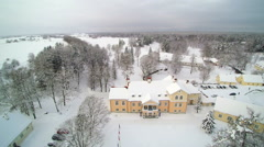 Aerial shot of the Vihula manor with snow Stock Footage
