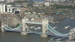 4K Aerial view Tower Bridge day London icon tourism attraction British city icon Stock Footage