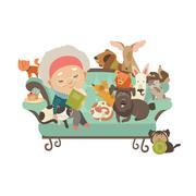Old woman with her cats and dogs - stock illustration