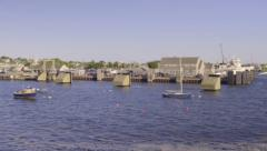 Camera Pans To Show View Of Beautiful Nantucket Island's Town Harbor, From Boat Stock Footage