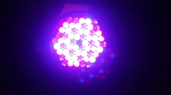 A light leds disco which emits a violet beam of light Stock Footage