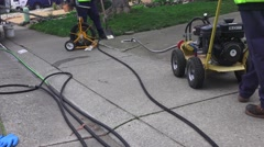 Sewer drain cleaning, Power snake in sewer Stock Footage