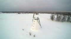 Aerial view of the old windmill Stock Footage