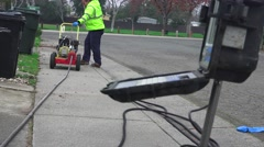 Sewer drain cleaning, starting engine Stock Footage