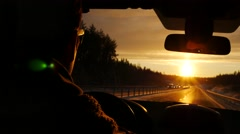 Driver in car through winter road on tourist travel roadtrip alone - stock footage