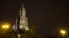 Eglise de la Trinite in Paris Tilting Shot at Night Stock Footage