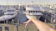 Young Woman Waves Her Hand In The Wind, From Moving Boat Stock Footage