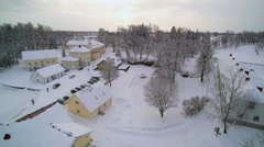 Aerial view of the whole manor covered in snow Stock Footage