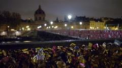 Lover's Locks on Pont Des Arts Rack Focus Shot Stock Footage