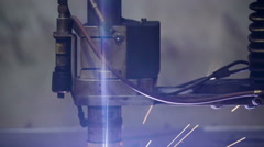 Closer look of the plasma cutter in a factory Stock Footage