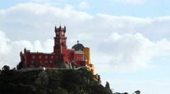Magical Pena National Palace in the clouds, Sintra, Portugal Stock Footage