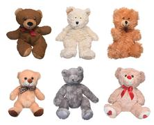 collection plush toy bears isolated on a white background - stock photo