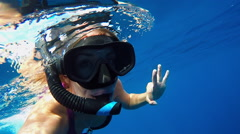 Young Woman Swimming with Whale Shark Stock Footage