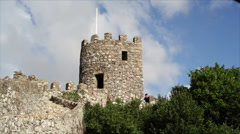 Fortress wall watchtower, Castle of the Moors, Sintra, Portugal Stock Footage