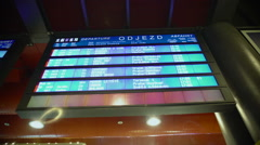 Train schedules on dynamic display at railway station, information for travelers Stock Footage