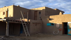 Pan Shot of Traditional Indian House in Taos Pueblo, New Mexico -Pan R/Zoom Out- Stock Footage