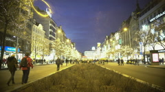 Crowded boulevard in city downtown, people enjoying evening walk in city center Stock Footage
