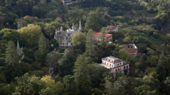 Quinta da Regaleira estate aerial view, lush green forest, Sintra, Portugal Stock Footage