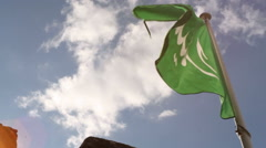 Green flag in arabic, lens flare, Castle of the Moors, Sintra, Portugal Stock Footage