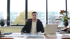 Male  said at the table Stock Footage