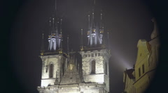 Beautiful night view of Gothic church at the Old Town of Prague, Czech Republic Stock Footage