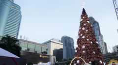 Christmas tree in city - stock footage