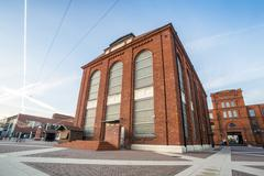 Post industrial, revitalized brick buildings. - stock photo