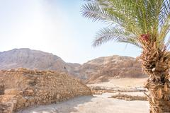 Excavations in Qumran, where Essenes hide scrolls with the Bible Stock Photos