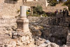 Remains of Bethesda Pool in Jerusalem Stock Photos