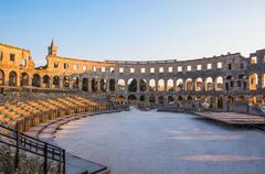 Ancient Roman Amphitheater in Pula, Croatia Stock Photos
