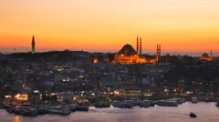 Panoramic view of Suleymaniye Mosque and Beyazit Tower in Istanbul Stock Footage