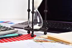 Business report and charts on table Stock Photos