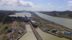 Ships in Pedro Miguel Locks Panama Canal  - stock footage