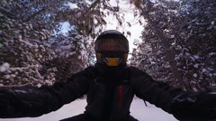 Closeup of a Fast Snowmobile Driver Stock Footage