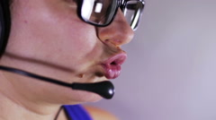 Call Center Operator Talking With Client Stock Footage