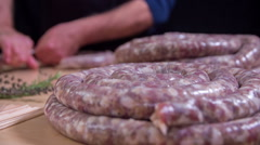 The process of making home-made sausages Stock Footage