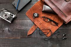 Hipster stuff bag - stock photo