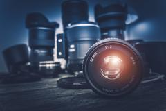 Camera Lens and Photography Equipment - stock photo