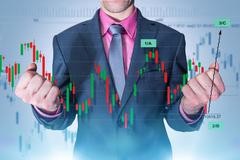 Trading Master. Successful Currency Trading Businessman Stock Photos